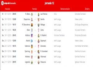 Calendario de partidos | Jornada 12ª | LaLiga Santander | 18 al 21/11/2016
