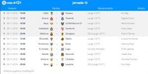 Calendario de partidos | Jornada 13ª | LaLiga 1|2|3 | 05 y 06/10/2016