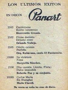 En esto llegó Fidel, se acabó la diversión | Publicidad de la disquera Panart | Cuba 1958