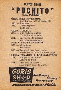 En esto llegó Fidel, se acabó la diversión   Publicidad Discos Puchito   Cuba 1958