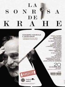 'La Sonrisa de Krahe' | Concierto homenaje a Javier Krahe | Sala Galileo Galilei | Madrid | 20/11/2016 | Cartel entradas agotadas