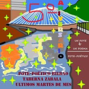 Pote Poético Bilbao | Últimos martes de mes | Taberna Zabala | Bilbao | Cartel 5º aniversario