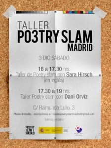 Taller Po3try Slam Madrid | Sábado 3 de diciembre de 2016 | Centro de Hermandades del Trabajo | Chamberí - Madrid | Cartel