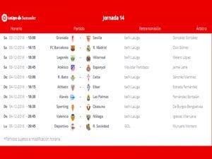 Calendario de partidos | Jornada 14ª | LaLiga Santander | 03 al 05/12/2016