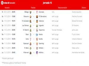 Calendario de partidos | Jornada 15ª | LaLiga Santander | 09 al 12/12/2016