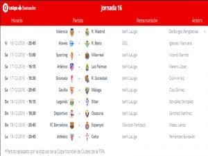 Calendario de partidos | Jornada 16ª | LaLiga Santander | 16 al 19/12/2016