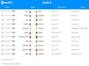 Calendario de partidos | Jornada 19ª | LaLiga 1|2|3 | 16 al 18/12/2016