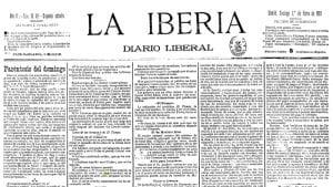Primera página del diario liberal 'La Iberia' | Madrid, domingo 1º de enero de 1893 | Fuente biscayenne.com