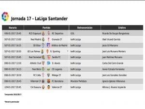 Calendario de partidos | Jornada 17ª | LaLiga Santander | 06 al 09/01/2017