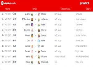 Calendario de partidos | Jornada 18ª | LaLiga Santander | 14 al 16/01/2017
