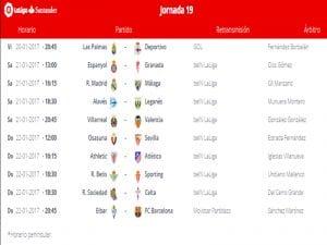 Calendario de partidos | Jornada 19ª | LaLiga Santander | 20 al 22/01/2017