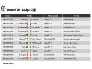 Calendario de partidos | Jornada 20ª | LaLiga 1|2|3 | 06 al 08/01/2017