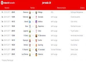 Calendario de partidos | Jornada 20ª | LaLiga Santander | 27 al 30/01/2017