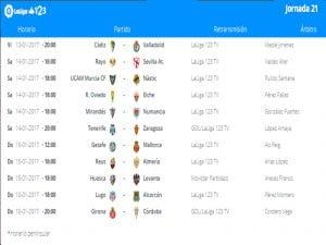 Calendario de partidos | Jornada 21ª | LaLiga 1|2|3 | 13 al 15/01/2017