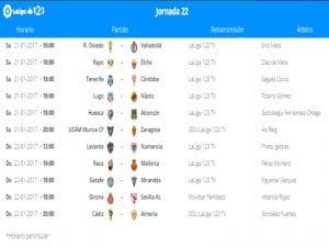 Calendario de partidos | Jornada 22ª | LaLiga 1|2|3 | 21 y 22/01/2017