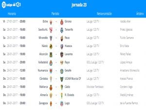 Calendario de partidos | Jornada 23ª | LaLiga 1|2|3 | 27 al 29/01/2017