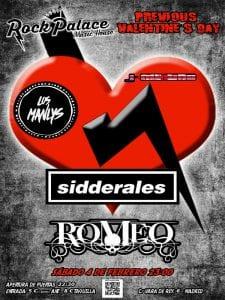 Concierto Sidderales, Los Manlys y Romeo | Rock Palace Music House | Arganzuela - Madrid | 04/02/2017 | Cartel