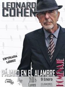 'Pájaro en el alambre' | Homenaje a Leonard Cohen | 'Bolo' García - Camiseta i media | Sala Clamores | Madrid | 09/01/2017 | Cartel