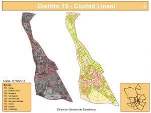 Planos 9 barrios distrito Ciudad Lineal | Madrid | Fuente DGE del Ayuntamiento de Madrid