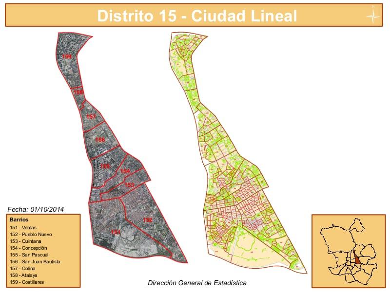 Ciudad Lineal Madrid Mapa.Los 9 Barrios Del Distrito De Ciudad Lineal De Madrid