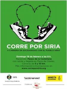 2ª Carrera Solidaria 'Corre Por Siria' | Paseo de la Castellana | Madrid | 19/02/2017 | AAPS-AER-AI | Cartel