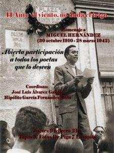 2º 'Ante el viento, no duda el trigo' | Homenaje a Miguel Hernández | José Luis Álvarez - 'Bolo' García | Participación abierta | Tapas & Fotos | Lavapiés | 09/02/2017 | Cartel Javier Herrero Barceló