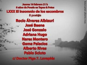 80º El insomnio de los escombros | 8 poetas | 8 años de poesía | Tapas & Fotos | Lavapiés-Madrid | 16/02/2017 | Foto/cartel Alberto Rivas