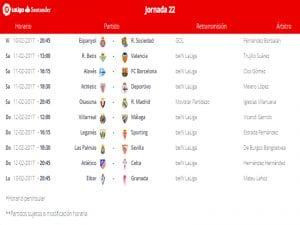 Calendario de partidos | Jornada 22ª | LaLiga Santander | 10 al 13/02/2017