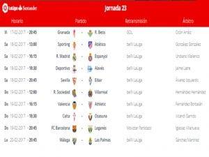 Calendario de partidos | Jornada 23ª | LaLiga Santander | 17 al 20/02/2017