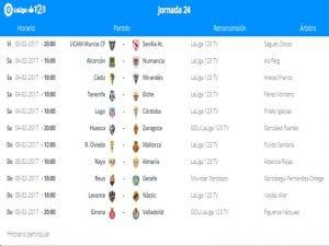 Calendario de partidos | Jornada 24ª | LaLiga 1|2|3 | 03 al 05/02/2017