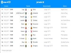 Calendario de partidos | Jornada 26ª | LaLiga 1|2|3 | 17 al 19/02/2017