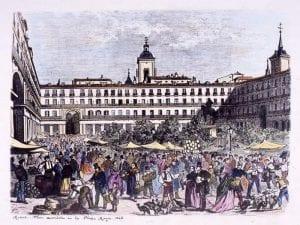 Madrid | Feria navideña en la Plaza Mayor | 1868 | Grabado siglo XIX | Archivo de la Villa | Madrid