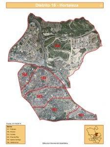 Plano 6 barrios distrito Hortaleza | Madrid | Fuente DGE del Ayuntamiento de Madrid | Satélite