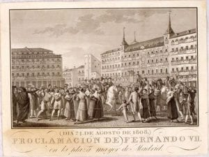 Proclamación de Fernando VII en la Plaza Mayor de Madrid (día 24 de agosto de 1808) | Grabado siglo XIX | Archivo de la Villa | Madrid
