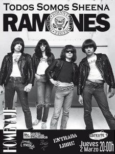 'Todos somos Sheena' Homenaje a Ramones | 'Bolo' García - Camiseta i-media | Sala Satélite T | Bilbao | Entrada libre | 02/03/2017