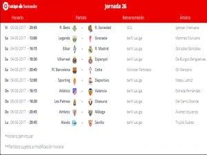 Calendario de partidos | Jornada 26ª | LaLiga Santander | 03 al 06/03/2017