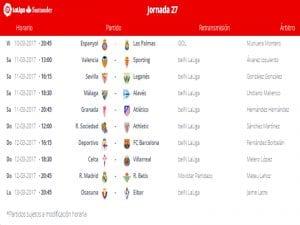 Calendario de partidos | Jornada 27ª | LaLiga Santander | 10 al 13/03/2017