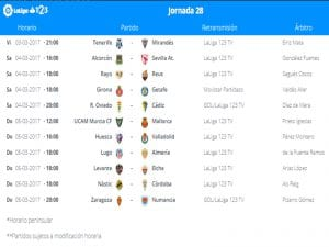 Calendario de partidos | Jornada 28ª | LaLiga 1|2|3 | 03 al 05/03/2017