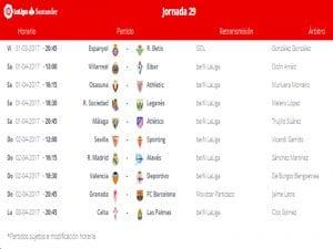 Calendario de partidos | Jornada 29ª | LaLiga Santander | 31/03 al 03/04/2017