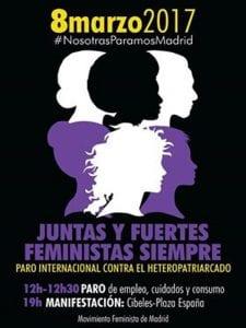 Día Internacional de las Mujeres 2017   Miércoles 8 de marzo de 2017   Convocatoria Madrid   Cartel