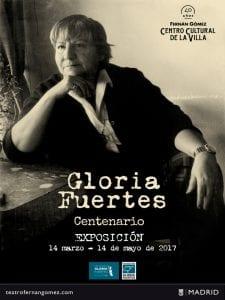 Exposición 'Gloria Fuertes 1917-1998' | Teatro Fernán Gomez´. Centro Cultural de la Villa | Fundación Gloria Fuertes | Centenario Gloria Fuertes | 14/03 al 14/05/2017 | Cartel