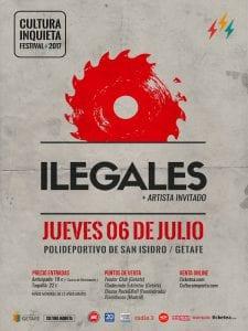 Festival Cultura Inquieta | 8ª edición | 22/06 al 08/07/2017 | Getafe | Comunidad de Madrid | Ilegales | 06/07/2017 | Polideportivo San Isidro | Cartel