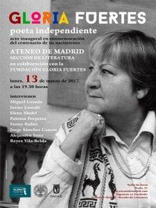 'Gloria Fuertes, poeta independiente' | Sección de Literatura del Ateneo de Madrid | Fundación Gloria Fuertes | 13/03/2017 | Cartel