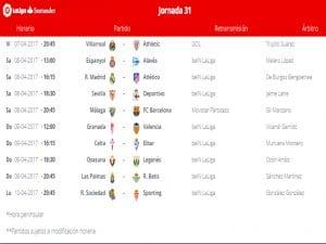 Calendario de partidos | Jornada 31ª | LaLiga Santander | 07 al 10/04/2017