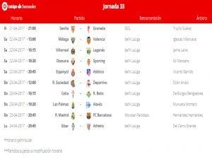 Calendario de partidos | Jornada 33ª | LaLiga Santander | 21 al 24/04/2017
