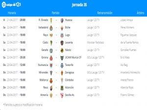 Calendario de partidos | Jornada 35ª | LaLiga 1|2|3 | 21 al 23/04/2017
