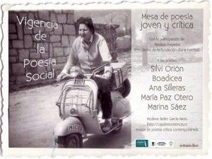 'Vigencia de la poesía social' | Mesa de poesía joven y crítica | Centenario Gloria Fuertes | Fernán Gómez. Centro Cultural de la Villa | Madrid | 21/04/2017 | Cartel
