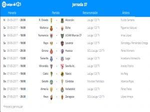 Calendario de partidos | Jornada 37ª | LaLiga 1|2|3 | 05 al 07/05/2017