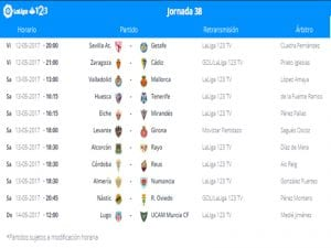 Calendario de partidos | Jornada 38ª | LaLiga 1|2|3 | 12 al 14/05/2017