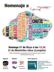 'Letras Invertidas, Versos con Faldas'   Homenaje LGTBIQ a Gloria Fuertes   Órbita Diversa   Lavapiés - Centro - Madrid   07/05/2017   Cartel